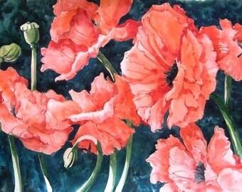 Original Watercolor by Teri Partridge - Framed - Red Poppies