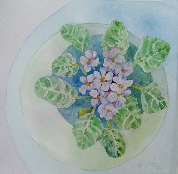 African Violets  - small original watercolor