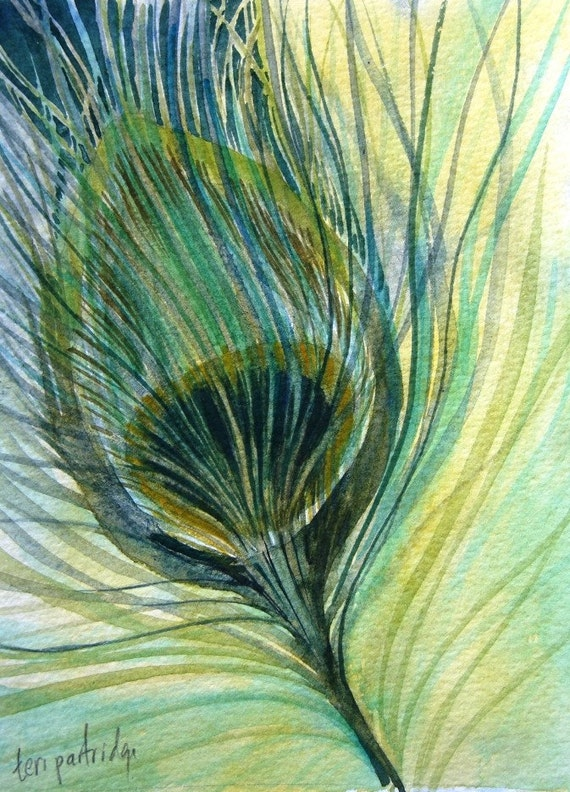 Peacock Feather Study - Original Watercolor