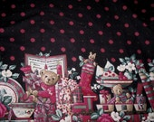Reduced Price - CHRISTMAS TEDDY BEARS - Border Fabric For a Festive Holiday Table