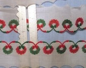 Over 2 yards Christmas Trim - Green and Red Wreaths - Vintage 1980s