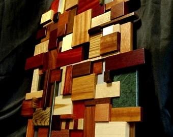 3D Wood and Metal Mosaic Wall Art