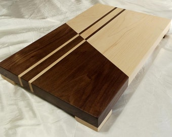 Contrasting Maple and Walnut Wood Cutting Board w/feet