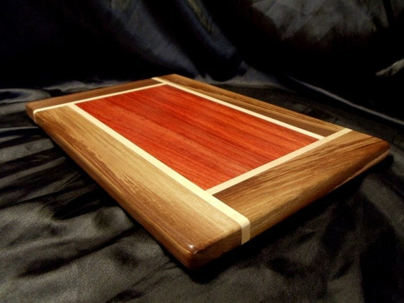 Padouk Cutting Board w/ Walnut and Maple Borders