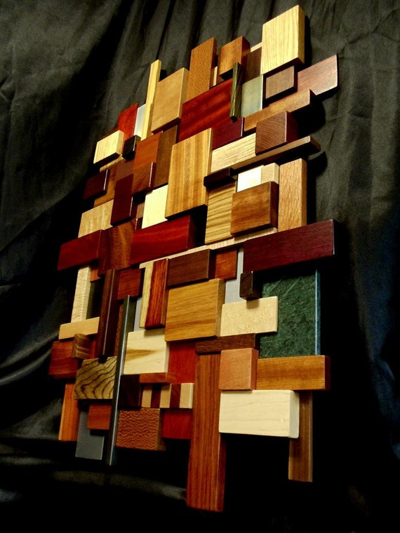 3D Wood and Metal Mosaic Wall Art