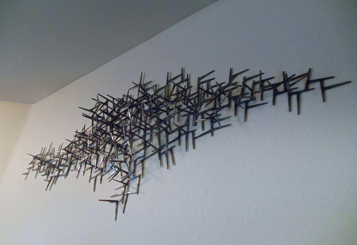 Welded nails metal wall art for Wire wall art