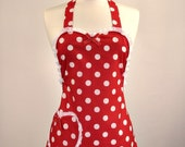 Plus Size Retro Apron Special Edition Betty Sweet Heart Womans Full Apron  (Red) 1x-2x