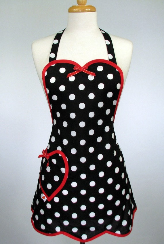 Plus Size Apron Cute Retro Womens Full Betty Sweet Heart 3x - 4x by SwankyPlace
