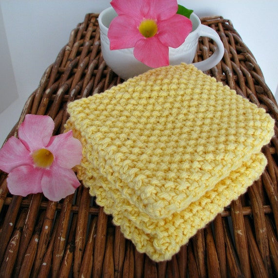 Dish Cloth Hand Knitted Classic Yellow 2/pk