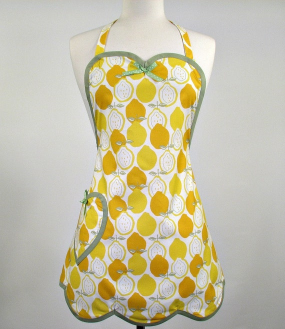 Betty Sweet Heart Womans Full Apron Lemon Delight (Yellow)
