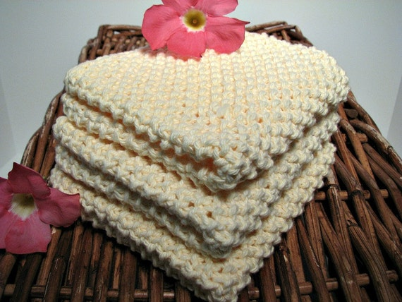 Classic Hand Knitted Kitchen Dish Cloths 3/pk Pale Yellow