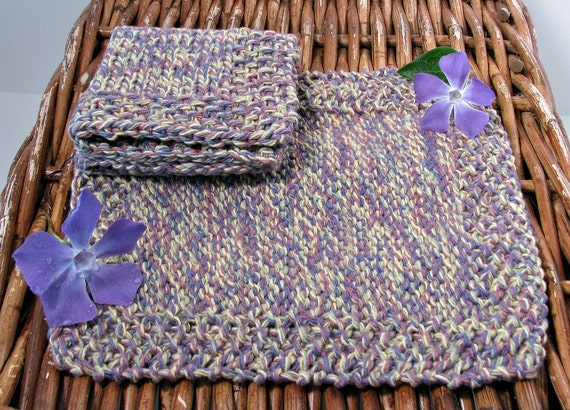 Dish Cloth Hand Knitted Classic Puple 2/pk