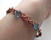 Braided Copper Bracelet with Beach Glass