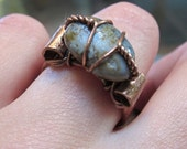 Blue Gray and Gold Beach Stone Ring