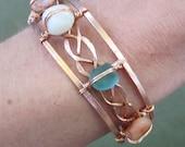 Braided Copper and Beach Stones Cuff Bracelet