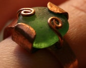 Green Beach Glass and Copper Ring