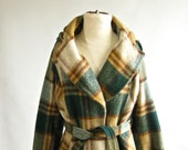 SALE - vintage hooded plaid brushed wool trench