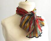 vintage silk scarf in primary stripes.