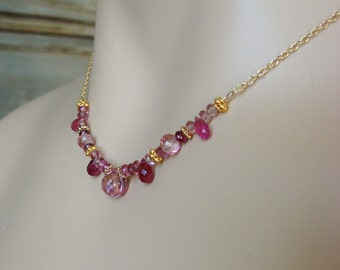 Pink Topaz Necklace with Pink Tourmaline--Jewel Drop Gold Series