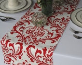 Traditions Red Damask Table Runner Wedding Table Runner (Red on White)