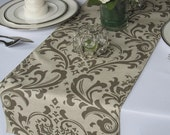 Traditions Taupe and Grayish Light Brown Damask Table Runner