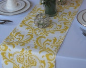 Traditions Yellow on White Damask Wedding Table Runner
