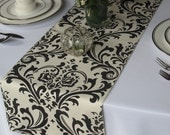 Traditions Ivory and Black Damask Table Runner Wedding Table Runner