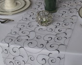 Swirl Embroidered Organza Wedding Table Runner