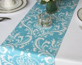 Traditions White Damask on Light Turquoise Pool blue Wedding Table Runner