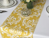 Traditions White Damask on Yellow Wedding Table Runner