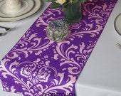 Traditions White Damask on Purple Wedding Table Runner