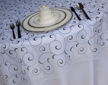 White Black Swirl Embroidered Organza Table Overlay Wedding Table Overlay