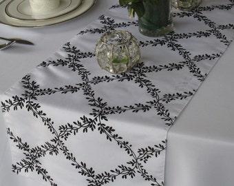 Black and White Leaf Lattice Flocked Taffeta Table Runner