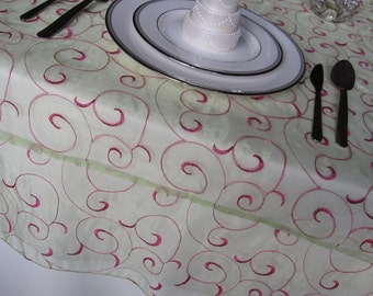 Swirl Embroidered Organza Overlay 72 inches Square - Many colors available