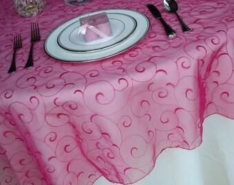 Swirl embroidered organza table overlay wedding table overlay