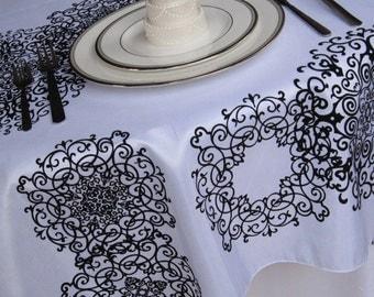 White and Black Medallion Damask Tablecloth Flocked Damask Taffeta Table Overlay