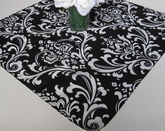 Traditions Black and White Damask Table Square