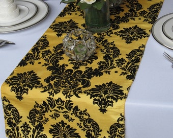 Yellow and Black Flocked Damask Table Runner Taffeta Wedding Table Runner