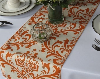 Traditions Orange and Ivory Damask Wedding Table Runner