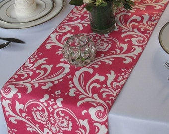 Traditions Hot pink and White Damask Wedding Table Runner