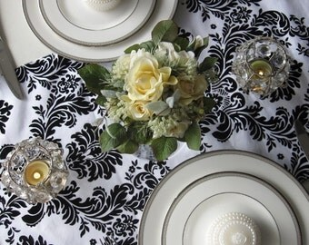 Victorian White and Black Flocked Taffeta Damask Table Runner