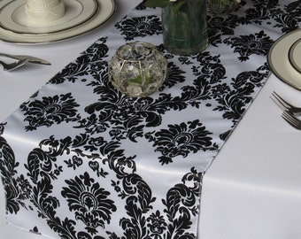 Victorian Black on White Satin Damask Table Runner