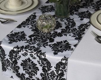 Victorian Black on White Satin Damask Table Runner