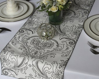 Traditions Maika White and Black Damask Wedding Table Runner