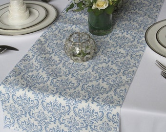 Madison Blue on White Damask Wedding Table Runner