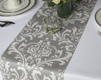 Traditions Gray and White Damask Table Runner Wedding Table Runner