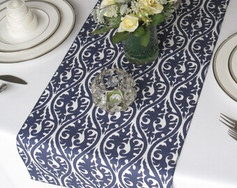 Kimono Navy and White Damask Table Runner