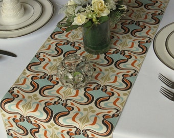 Gloria Aqua Orange Gold Ivory Table Runner Vintage Inspired Wedding Table  Runner