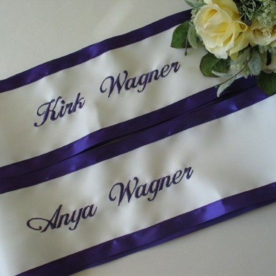 Personalized Wedding Chair Sashes For Bride And Groom Set Of