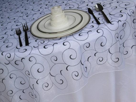 White Black Swirl Embroidered Organza Table Overlay Wedding